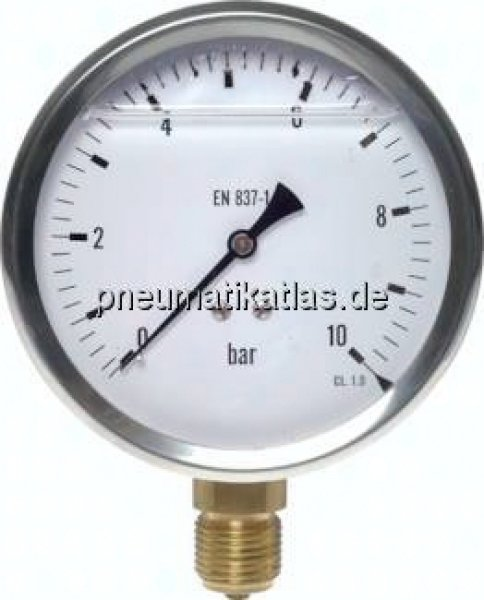 Glycerin-Manometer senkrecht (CrNi/Ms),100mm, 0 - 1,6 bar