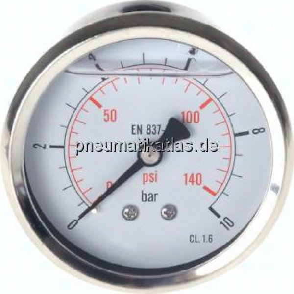Glycerin-Manometer waagerecht (CrNi/Ms),63mm, 0 - 1,6bar